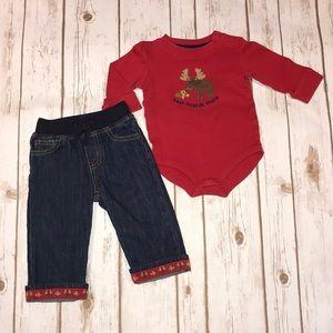 Gymboree Christmas denim jeans 6-12 months